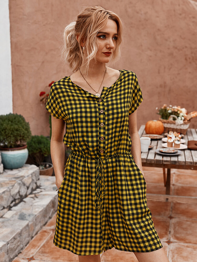 Best Plaid Print Short Sleeves O-neck Button Causal Jumpsuit For Women You Can Buy