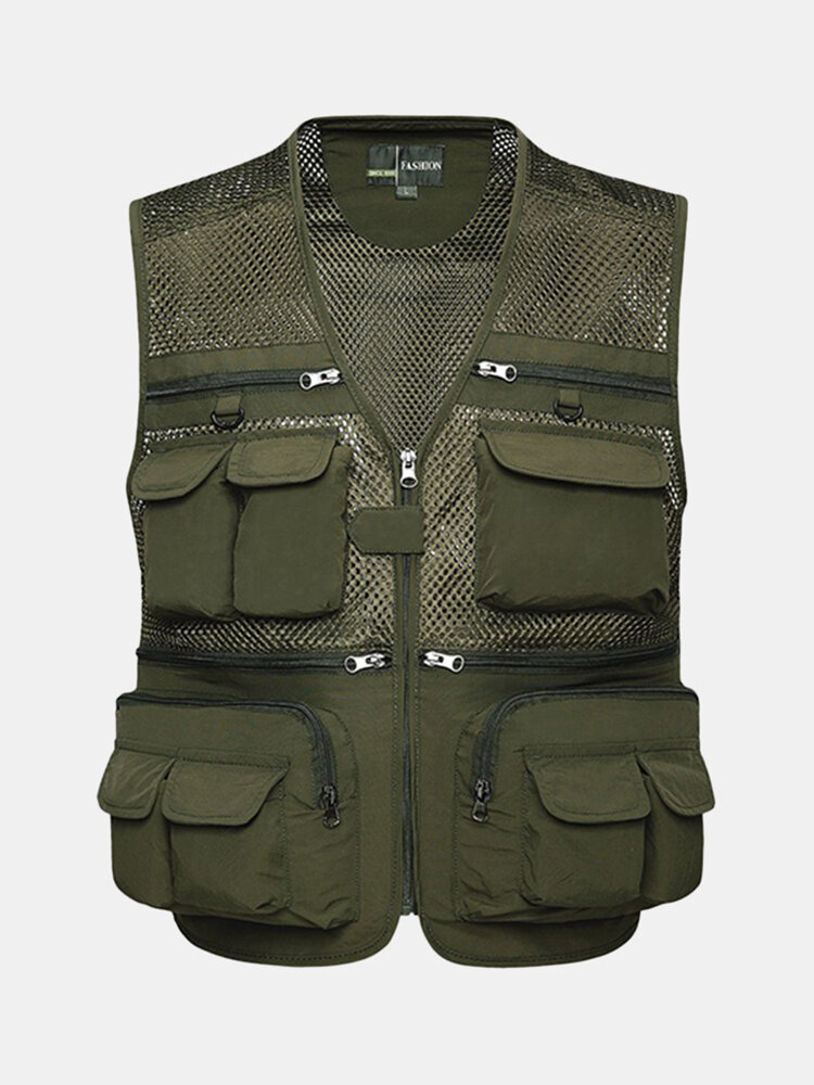 Best Outdoor Sport Photographic Mesh Breathable Water Resistant Fishing Multi Pockets Vest for Men You Can Buy