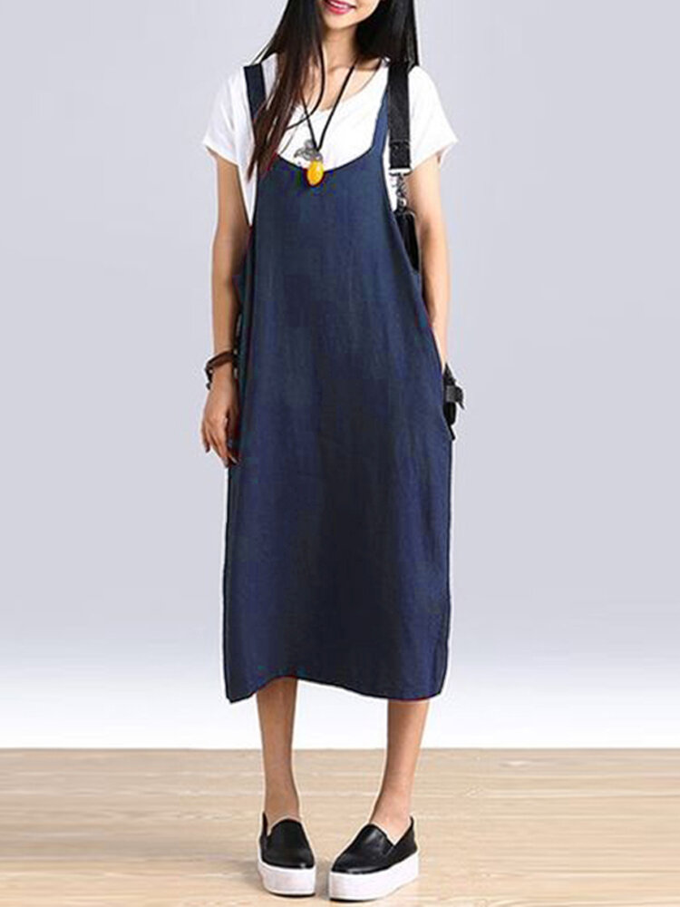 Best Vintage Sleeveless Solid Color Straps Cotton Plus Size Dress You Can Buy