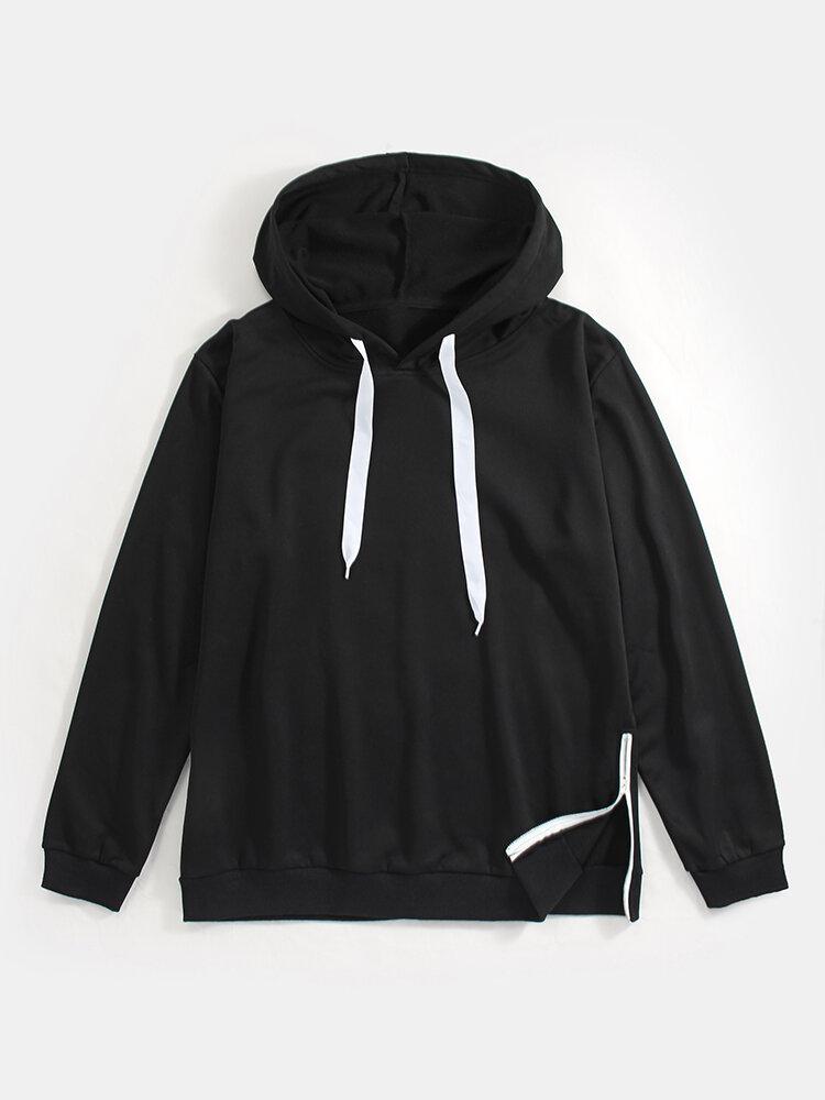 Best Mens Solid Side Zipper Slit Hem Casual Kangaroo Pocket Drawstring Hoodies You Can Buy