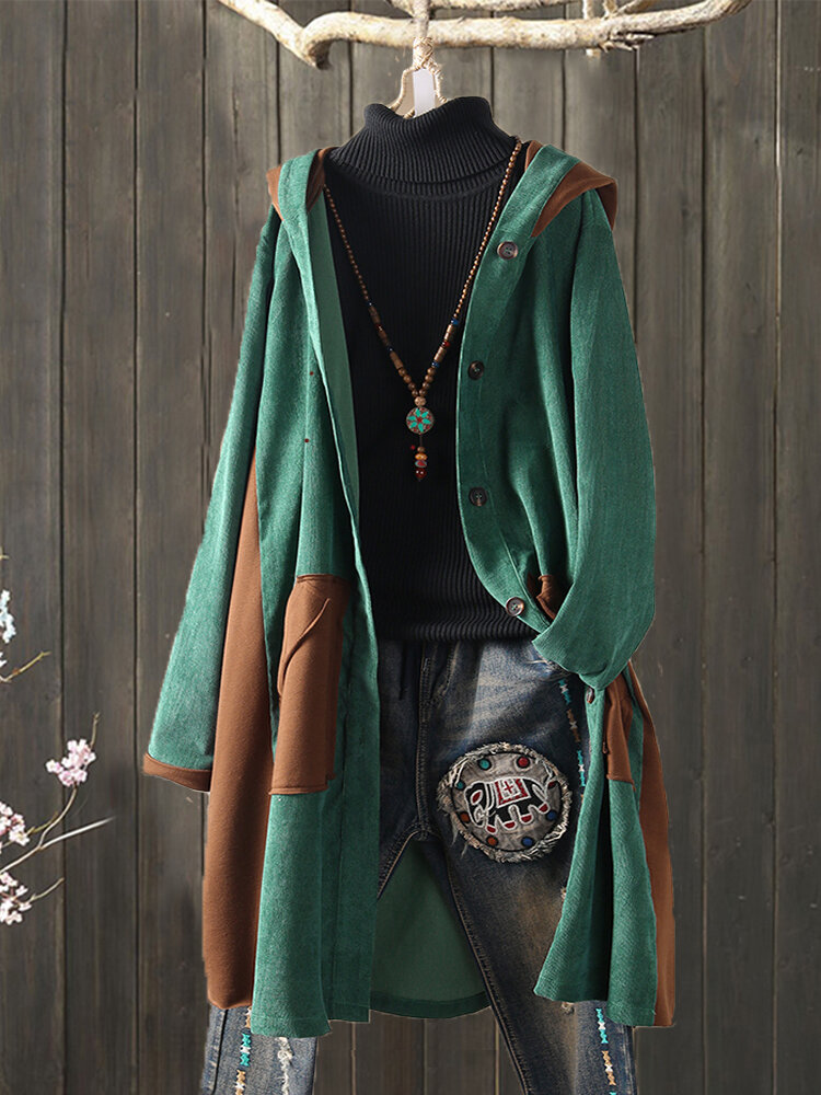 Best Corduroy Patchwork Hooded Plus Size Women Long Coat You Can Buy