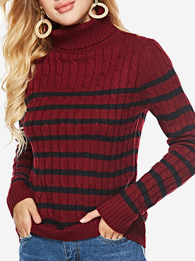 Best Woven Striped Turtleneck Casual Sweater You Can Buy