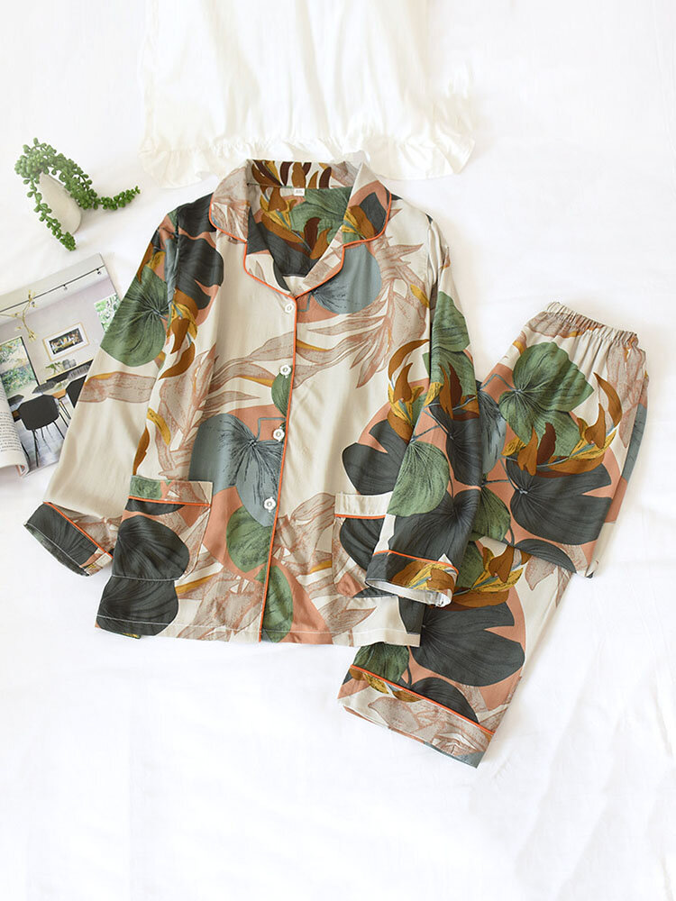 Best Women Allover Plant Print Revere Collar Double Pockets Pajama Sets With Contrast Binding You Can Buy
