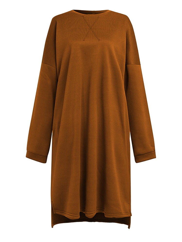 Best Casual Solid Color O-neck Asymmetrical Long Sleeve Dress You Can Buy