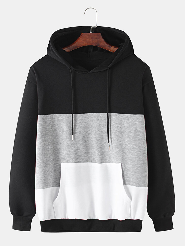 Best Mens Cotton Color Block Patchwork Casual Drawstring Hoodies With Kangaroo Pocket You Can Buy
