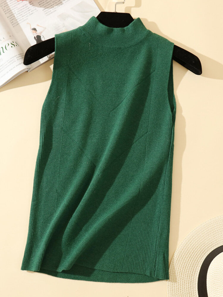 Best Solid Color Casual Sleeveless Knitting Sweater You Can Buy