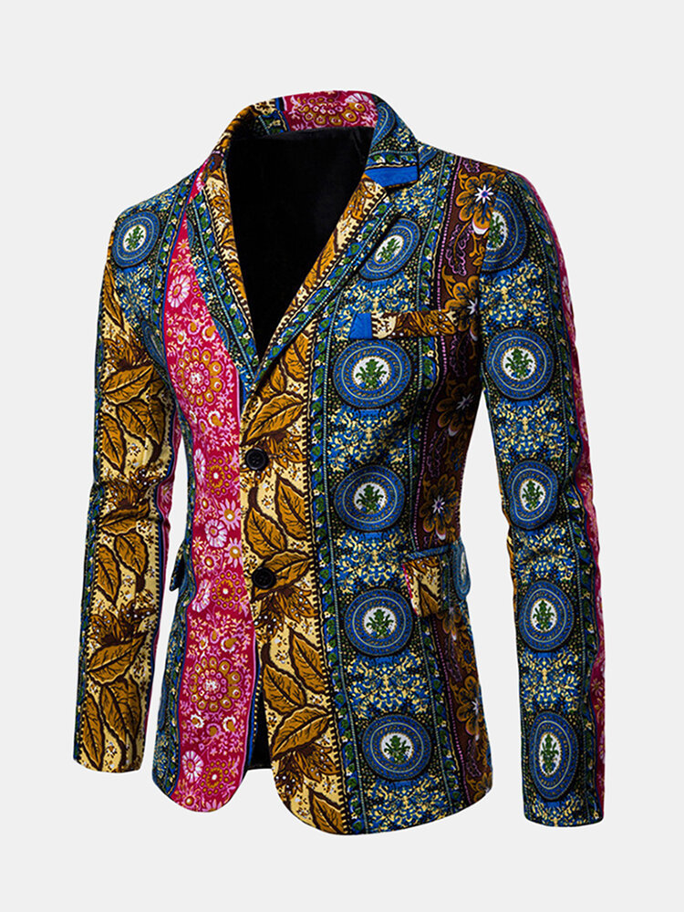 Best Mens Printing Casual Slim Fit Business Suits Blazer Irregular Contrast Color Suit Coat You Can Buy