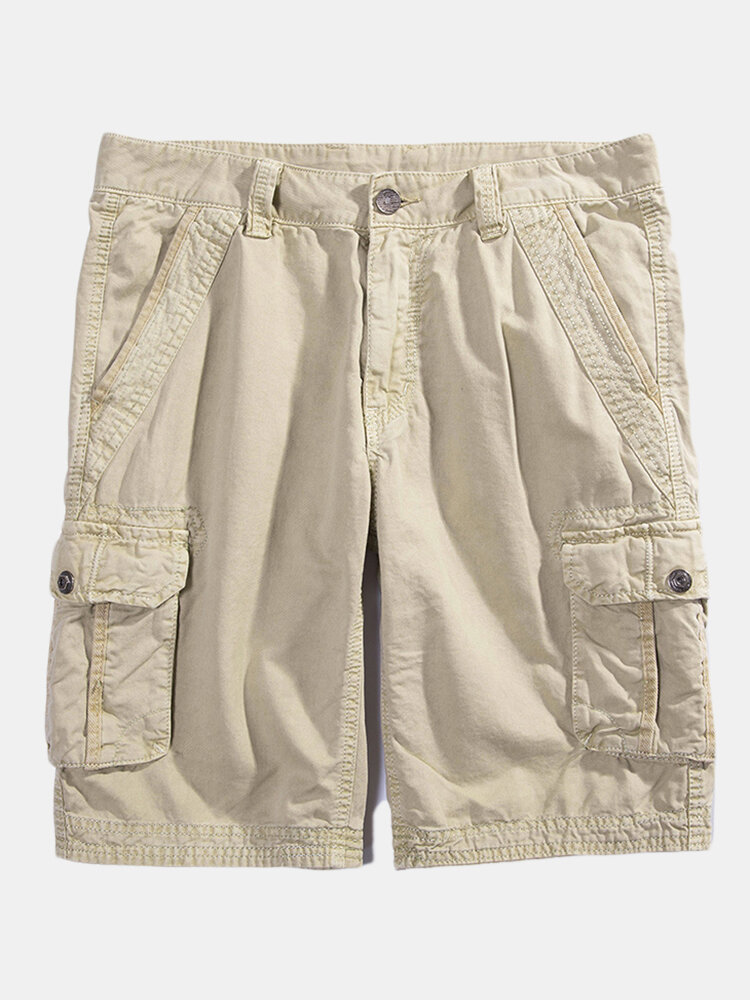Best Mens 100% Cotton Solid Color Casual Summer Shorts Outdoor Multi-pocket Cargo Shorts You Can Buy