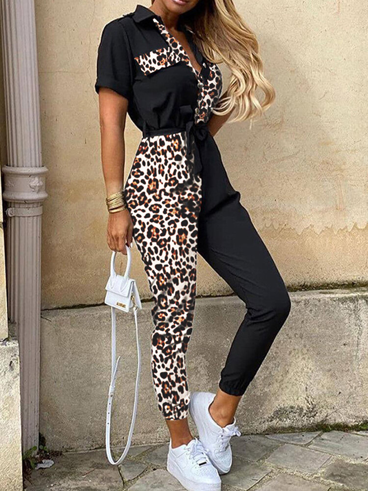 Best Patch Leopard Print V-neck Short Sleeve Jumpsuit With Belt You Can Buy