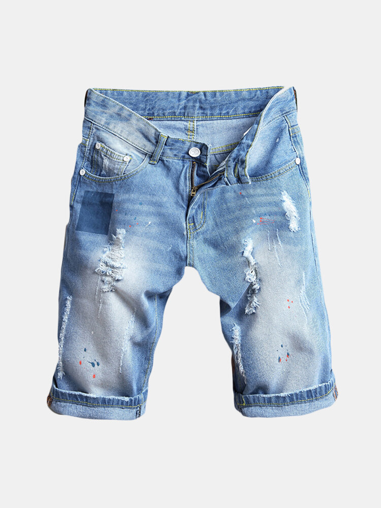Best Men Thin Light Blue Hip-Hop Holes Slim Fit Knee Length Jean Denim Short You Can Buy