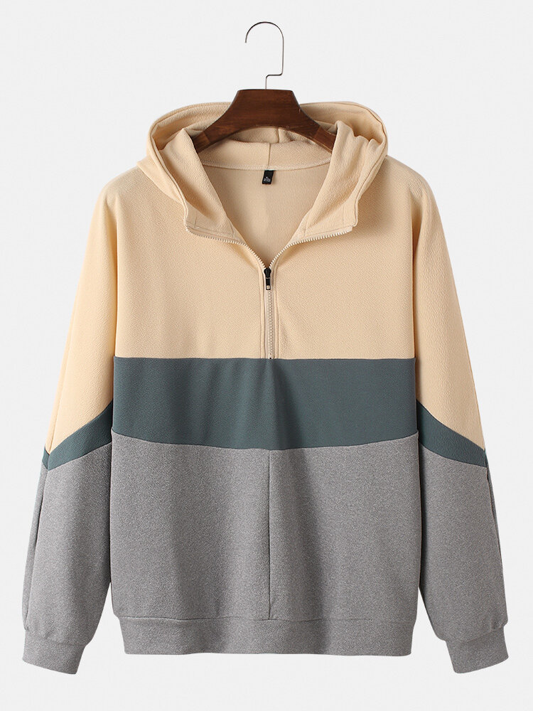 Best Mens Cotton Colorblock Half Zipper Front Casual Loose Fit Pullover Hoodies You Can Buy