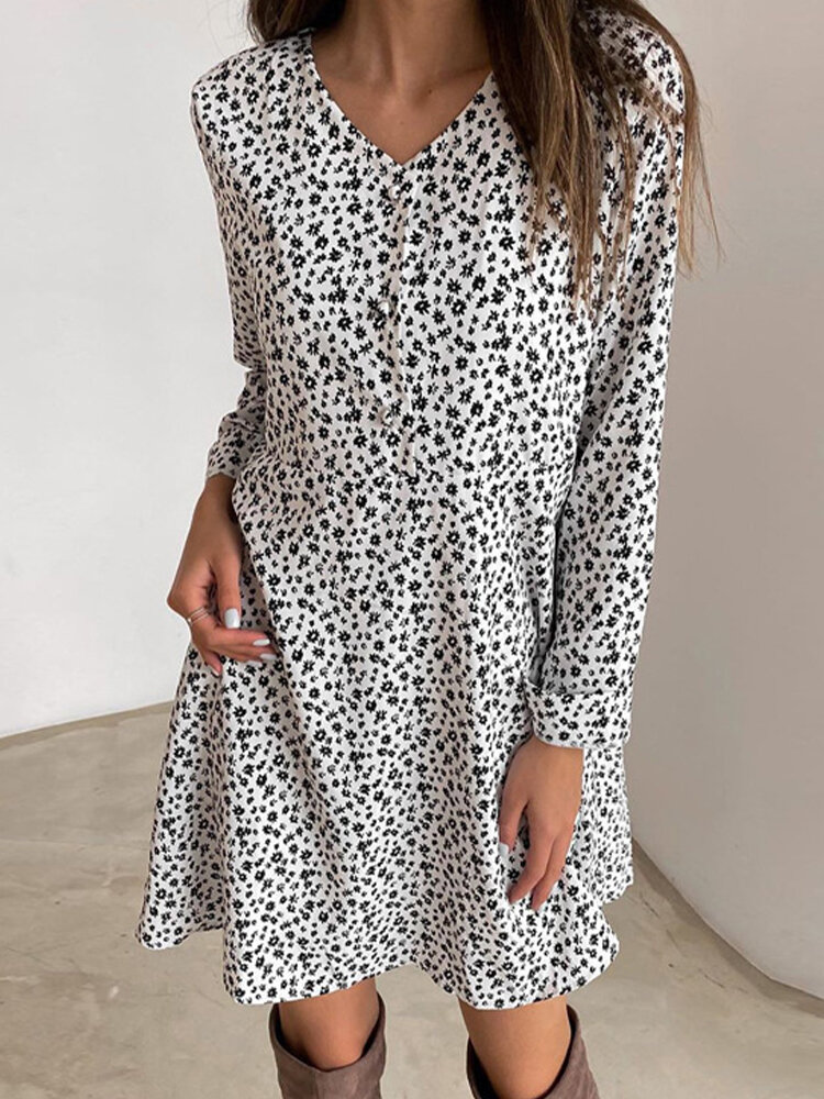 Best Casual Floral Printed V-neck Long Sleeve Midi Dress You Can Buy