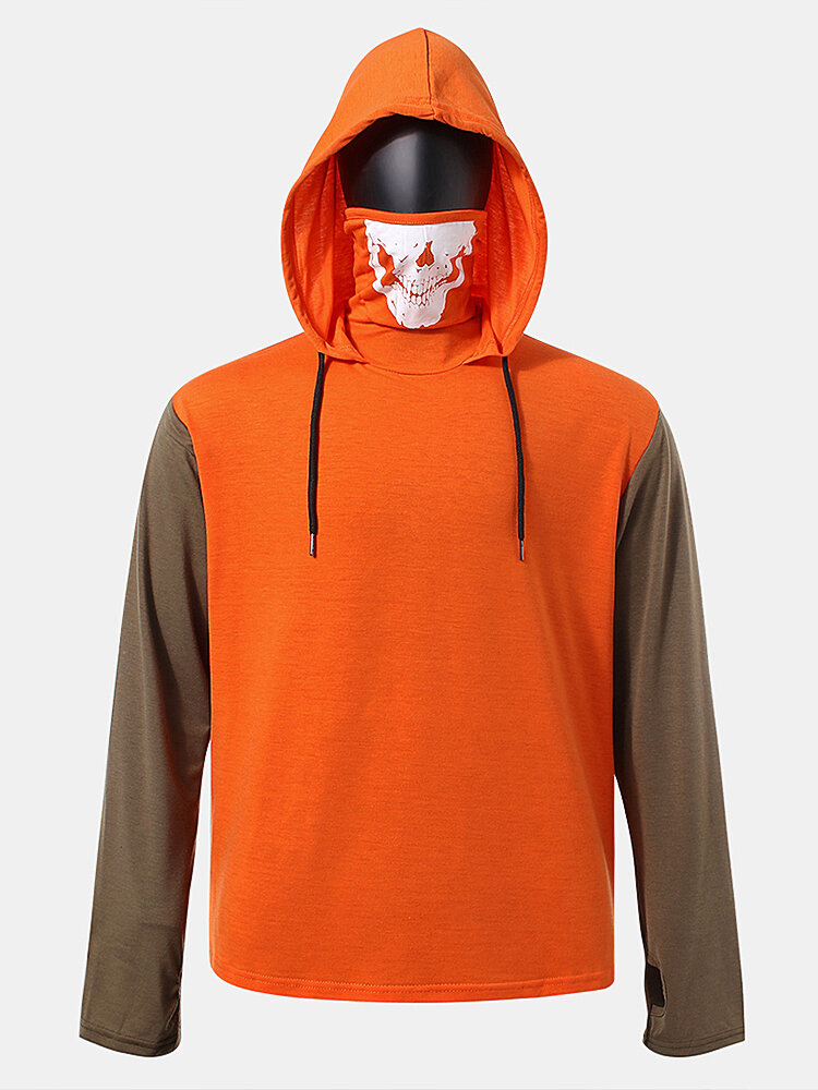 Best Mens Cotton Colorblock Patchwork Skull Print High Neck Drawstring Hoodies You Can Buy