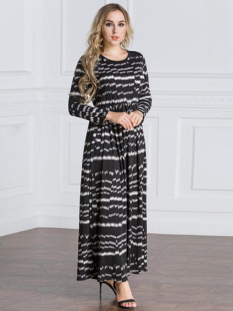 Best Vintage Women Muslim Print Patchwork Maxi Dresses You Can Buy