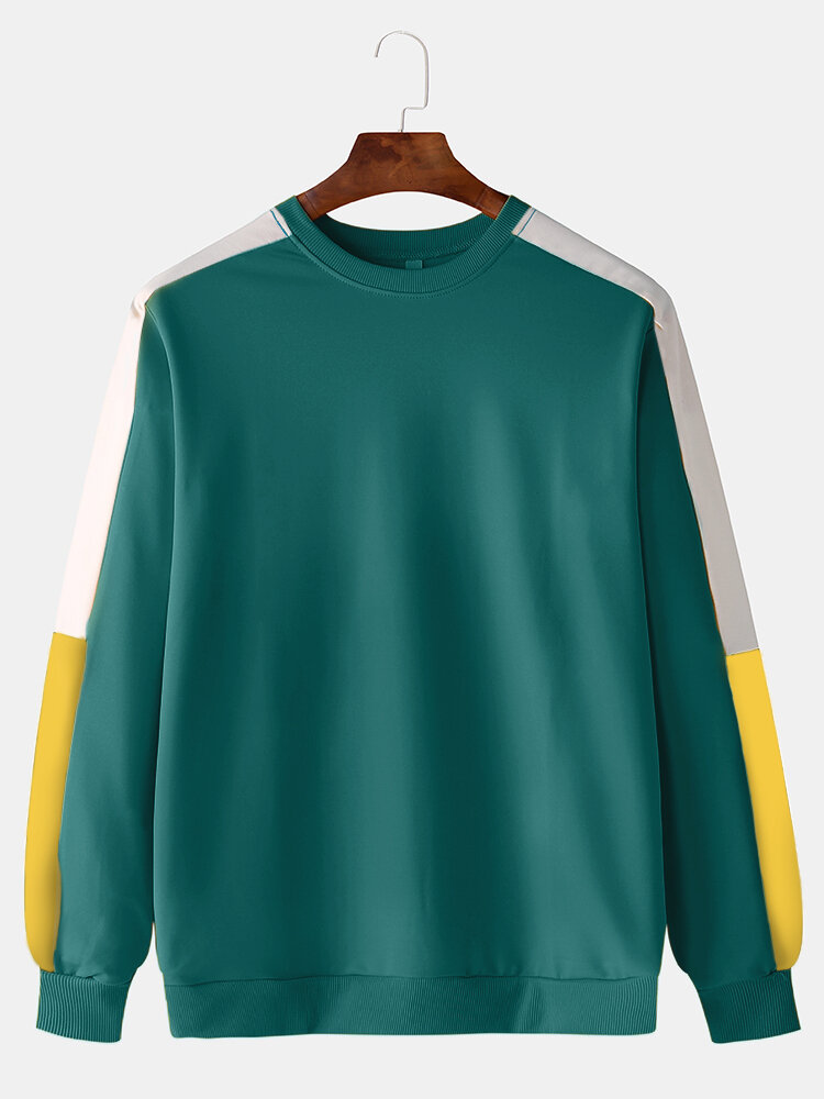 Best Mens Color Block Patchwork Casual Sports Long Sleeve Sweatshirt You Can Buy