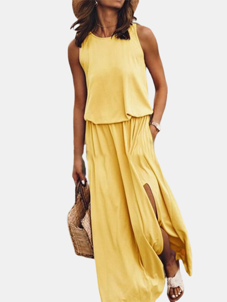 Best Solid Color Splited Sleeveless Casual Maxi Dress For Women You Can Buy
