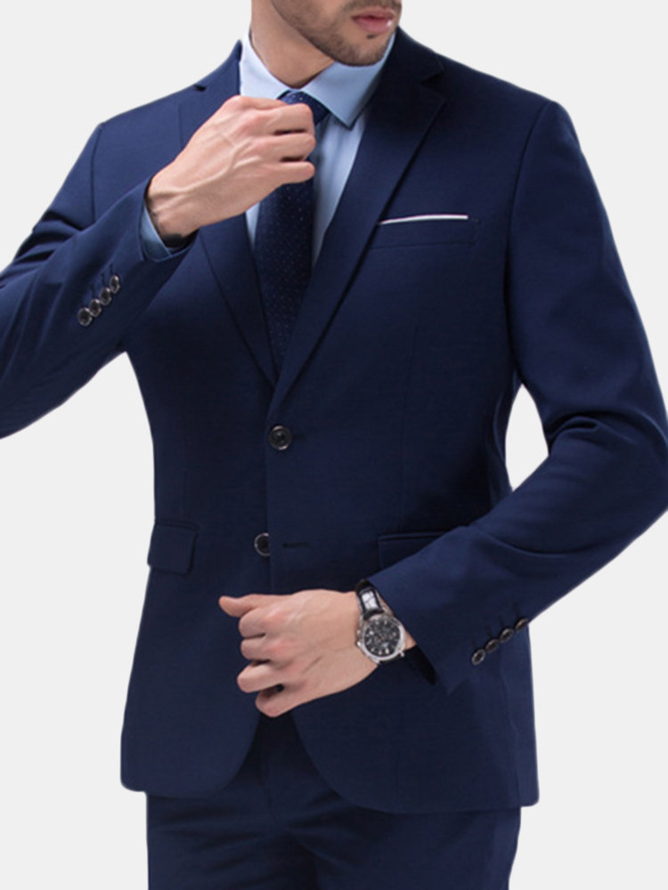 Best Two Pieces Solid Color Slim Fit Wedding Business Dress Blazer Suit&Pants For Men You Can Buy