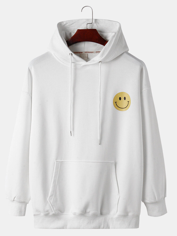Best Mens Cotton Cartoon Smile Face Print Loose Kangaroo Pocket Drawstring Hoodies You Can Buy