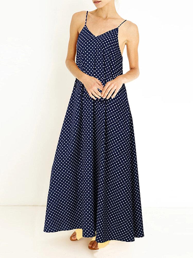Best Spaghetti Straps Polka Dot Plus Size Maxi Dress You Can Buy
