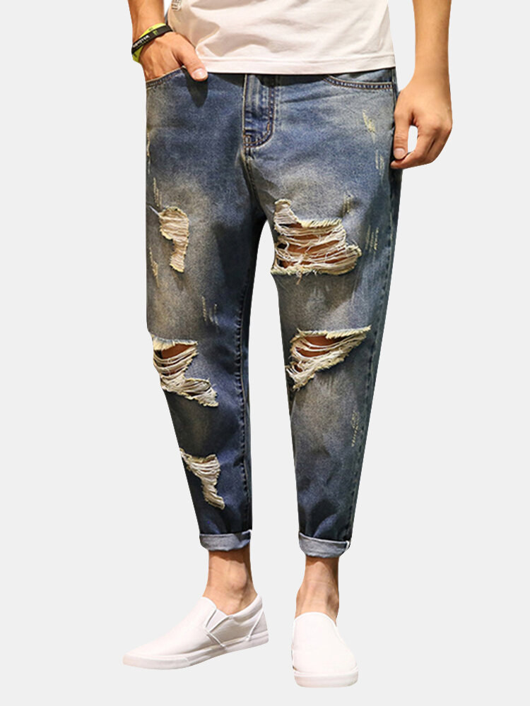 Best Ankle Length Ripped Pencil Pants Hip-Hop Fashion Casual Jeans For Men You Can Buy