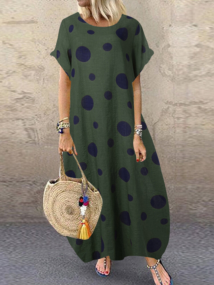 Best Polka Dot Print Short Sleeve Plus Size Baggy Dress with Pockets You Can Buy
