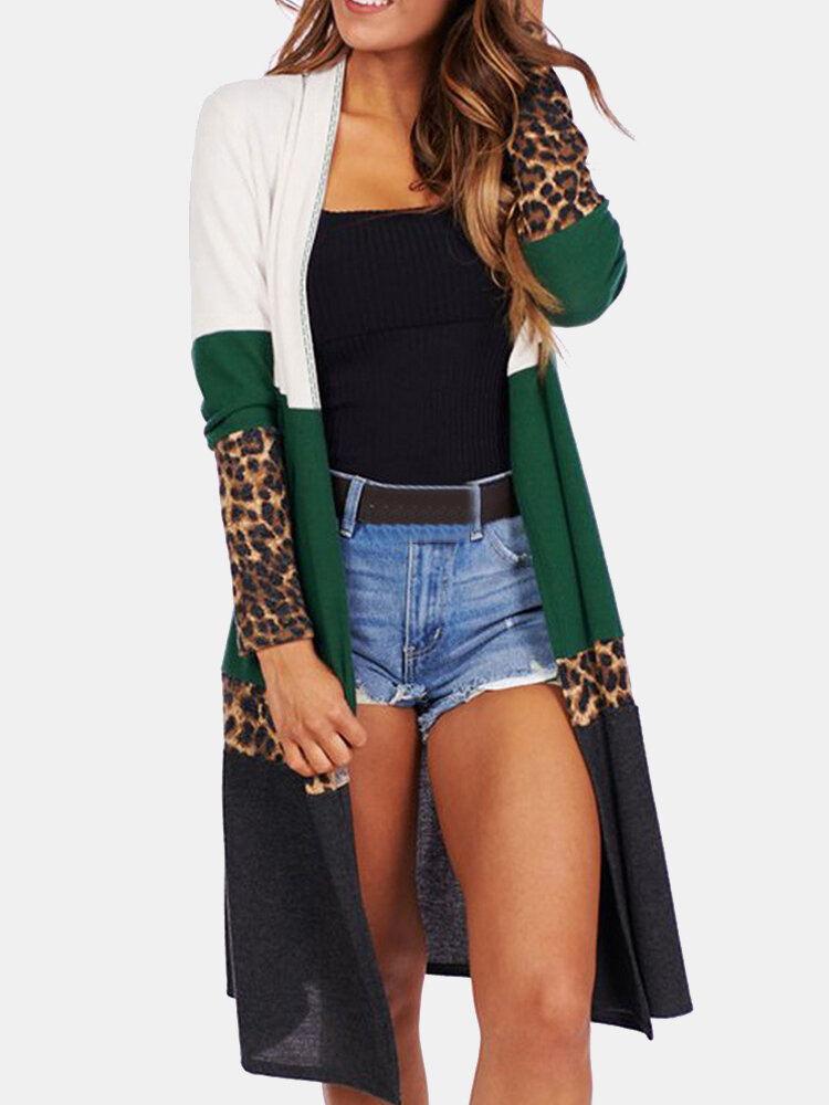 Best Leopard Printed Long Sleeve Patchwork Cardigan For Women You Can Buy