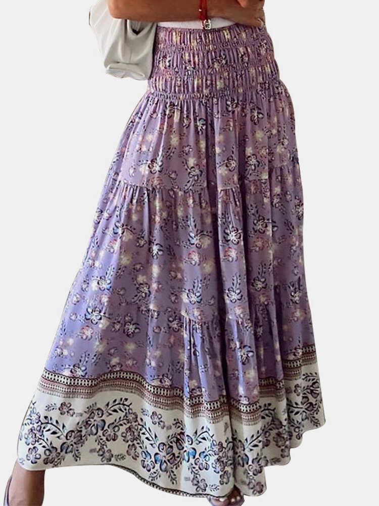 Best Vintage Floral Printed Elastic Waist Pleated Casual Skirt You Can Buy