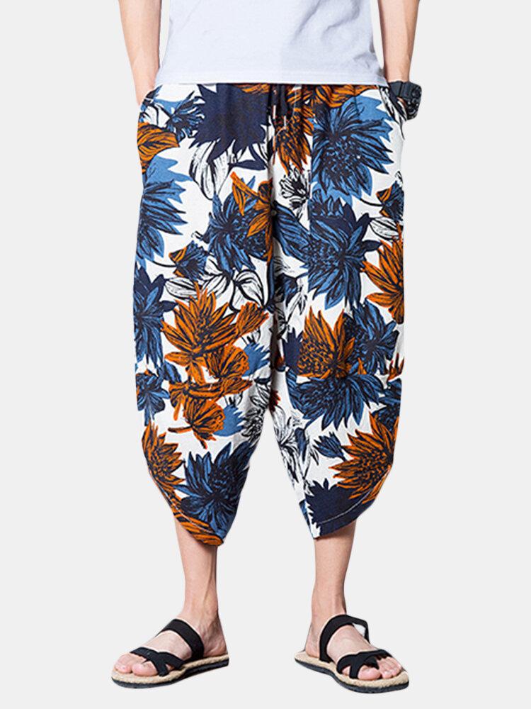 Best Mens Casual Baggy Cotton Harem Pants Elastic Waist Vintage Style Loose Wide Leg Pants You Can Buy