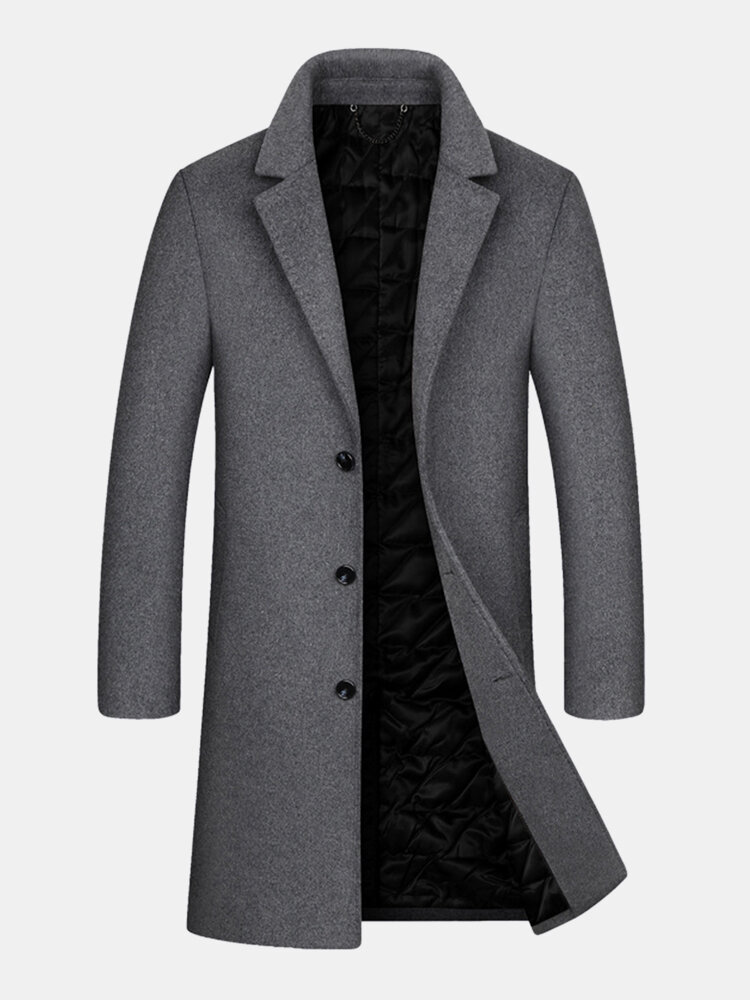 Best Mens Woolen Pure Color Button Up Business Casual Mid-Length Overcoats You Can Buy