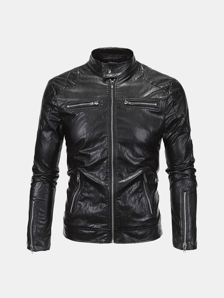 Best Mens Fashion PU Leather Stand Collar Zipper Fly Motorcycle Punk Style Cool Jacket You Can Buy