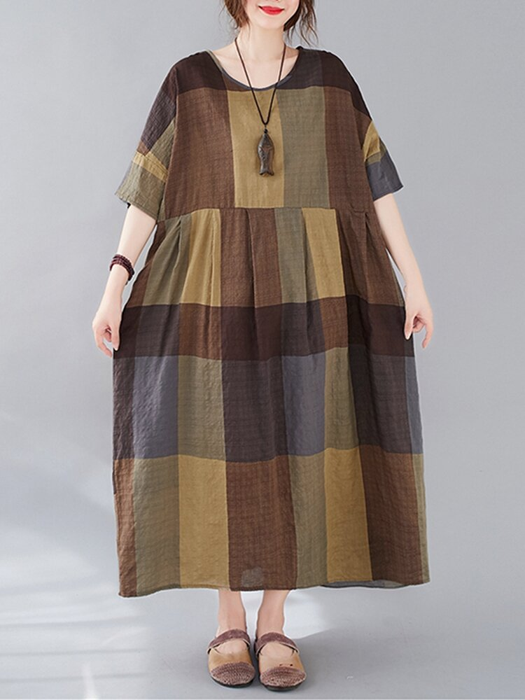 Best Contrast Color Plaid Print Half Sleeve Loose Dress For Women You Can Buy
