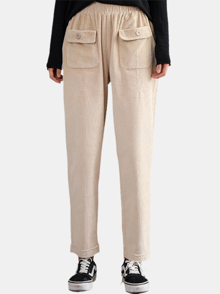 Best Vintage Elastic Waist Harem Corduroy Pants For Women You Can Buy