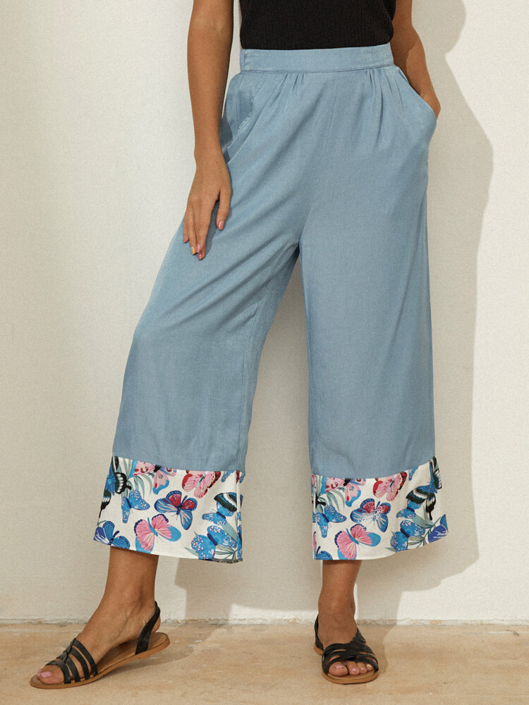 Best Butterfly Print Patchwork Elastic Waist Casual Pants You Can Buy