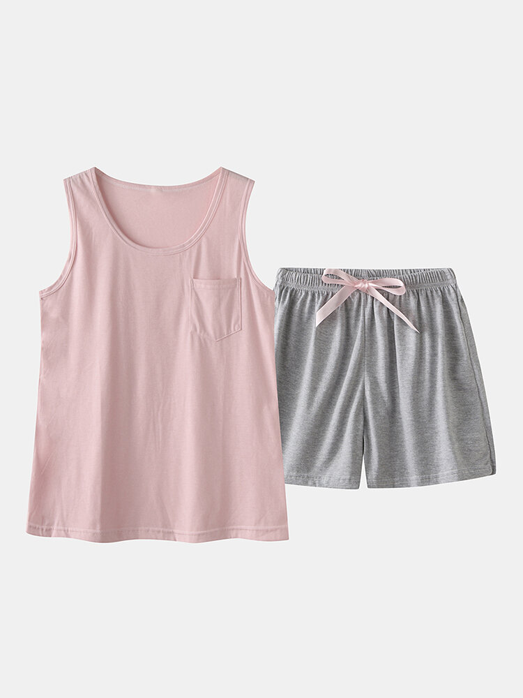 Best Women Pajamas Short Set Cotton Loose Vest Top Soild Sleepwear You Can Buy