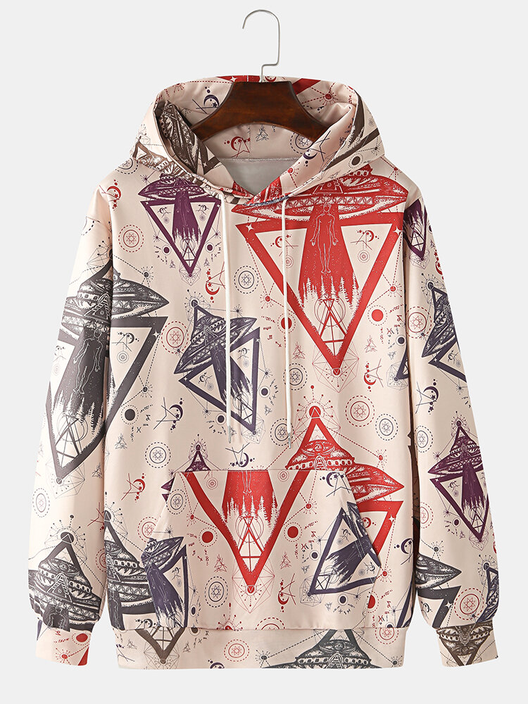 Best Mens Allover Space Ship Pattern Print Relaxed Fit Hoodies With Kangaroo Pocket You Can Buy
