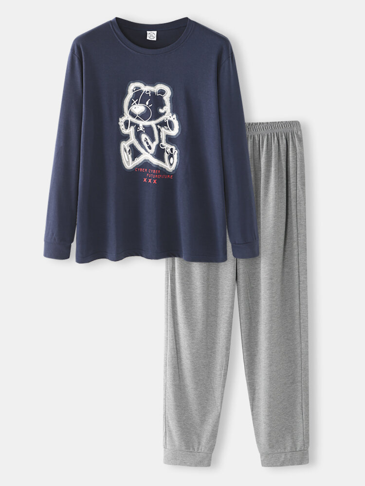 Best Men Bear Graphic pj sets Long Sleeve O Neck T-Shirt&Jogger Pants Co-ords You Can Buy