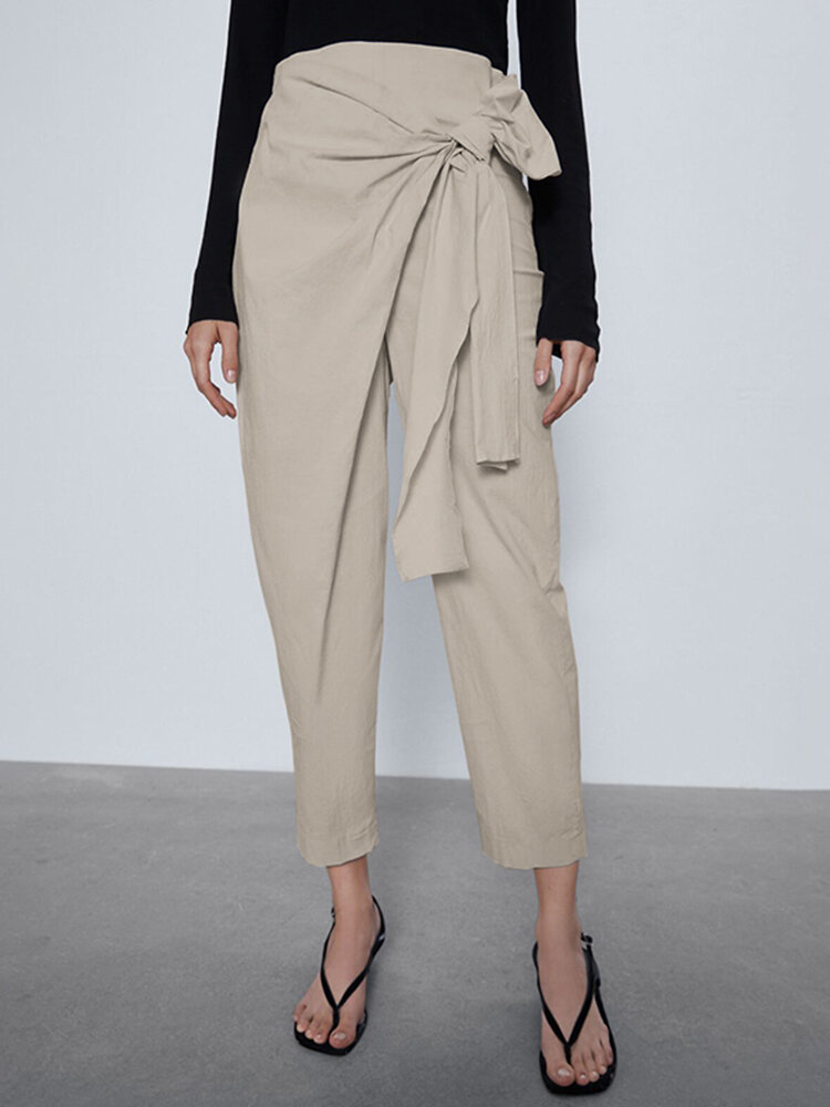 Best Straight-Legged Asymmetrical Pleated Bowknot Belt Elastic Waist Pants You Can Buy