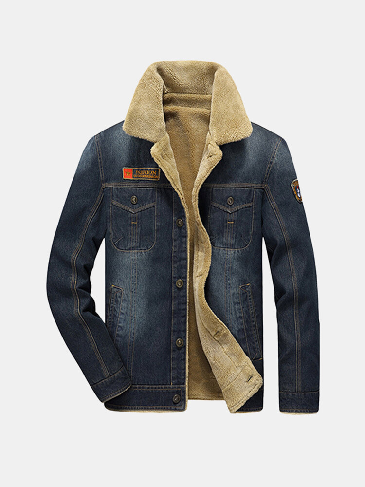 Best Winter Casual Thicken Warm Denim Jacket Multi Pockets Turn-Down Collar Coat for Men You Can Buy