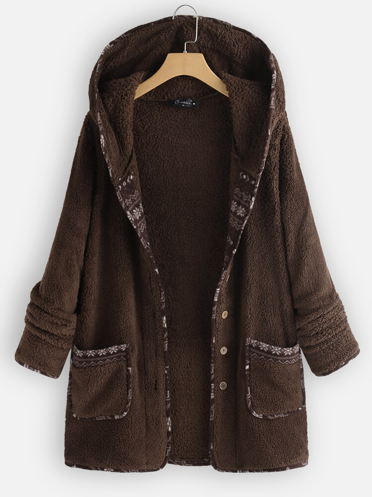 Best Casual Fleece Patchwork Plus Size Hooded Coat with Pockets You Can Buy