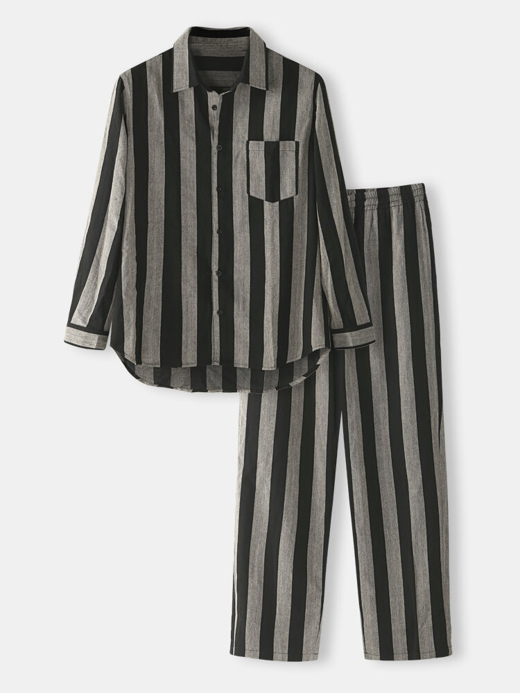 Best Striped Cotton Loungewear Sets Comfy Long Sleeve Shirt & Pant Outfits With Chest Pockets You Can Buy