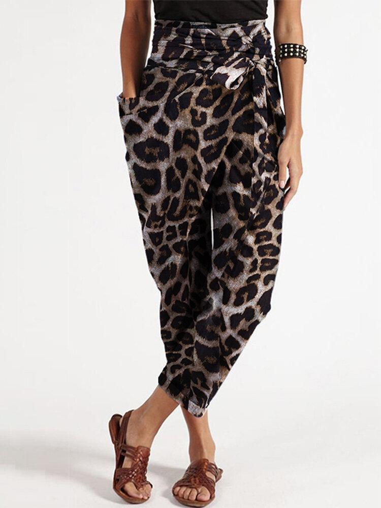 Best Leopard Print Casual Wrap Pocket Irregular Harem Pants with Belt You Can Buy