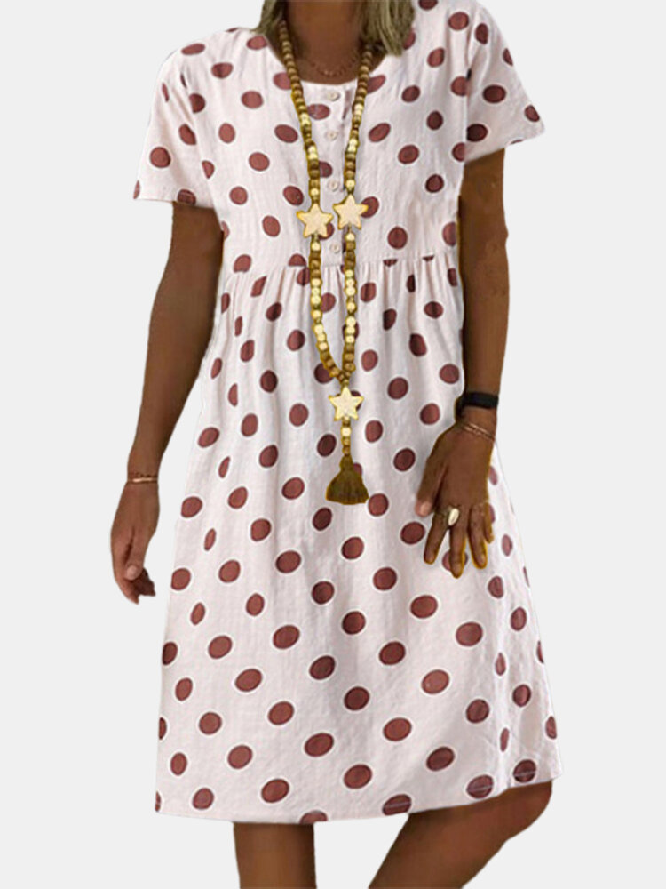 Best Polka Dot Short Sleeve Pleated Vintage Plus Size Dress You Can Buy