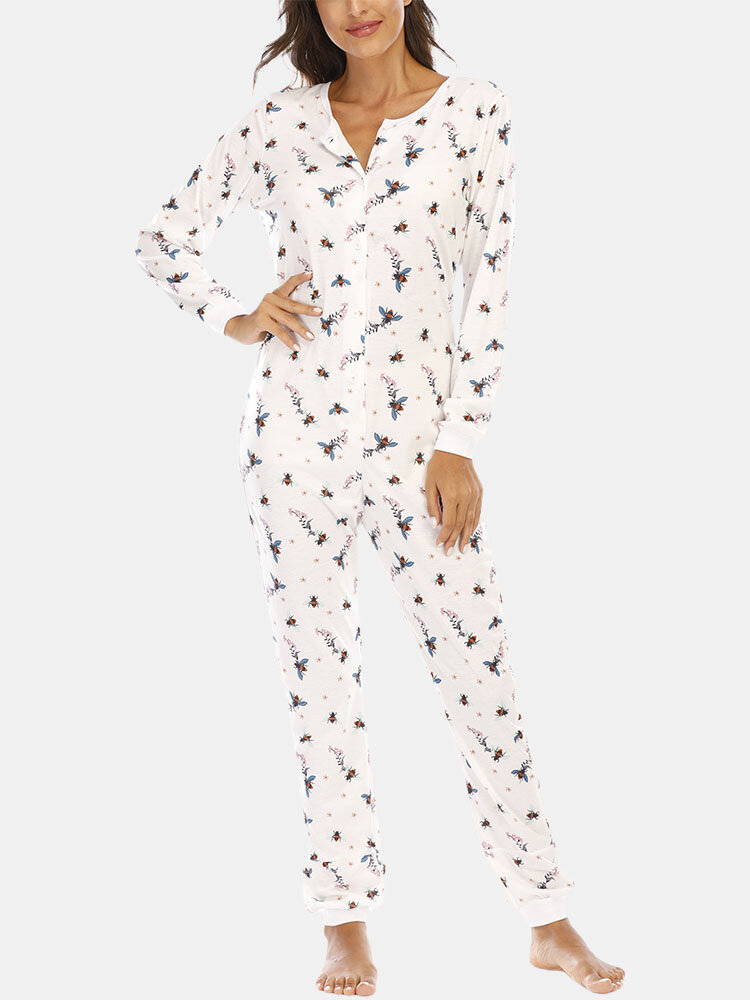 Best Women Plus Size Cartoon Bee Print Round Neck Jumpsuits Pajamas Front Button Soft Casual Onesies You Can Buy
