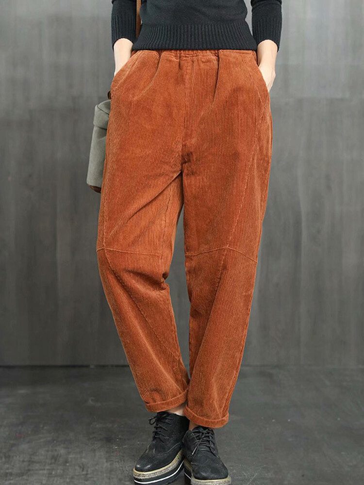 Best Pockets Solid Color Elastic Waist Casual Corduroy Pants You Can Buy