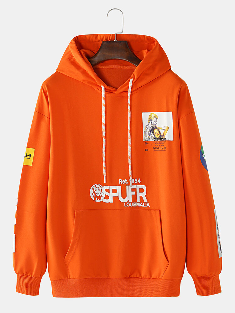 Best Mens Letter & Graphic Print Muff Pocket Casual Hoodies With Applique Sleeve You Can Buy