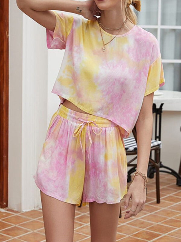 Best Women Tie Dye Pajamas Set Print O-Neck Softies Loose Loungewear With Short Top You Can Buy