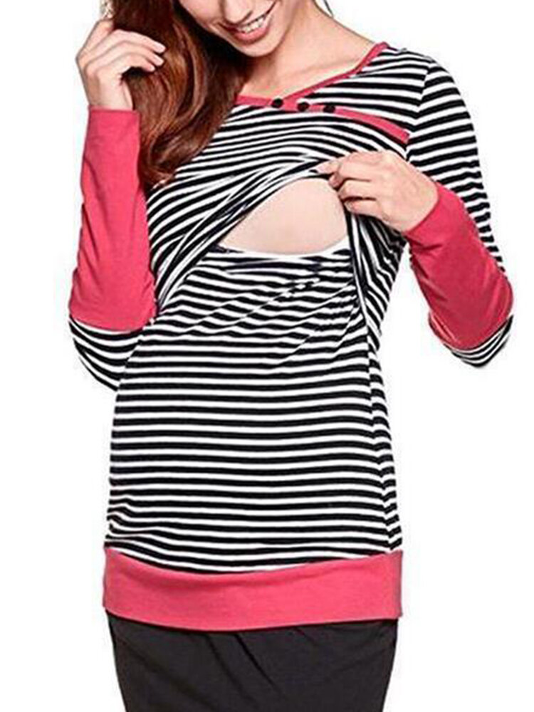Best Striped Print Maternity Patchwork Long Sleeve Nursing Tops You Can Buy