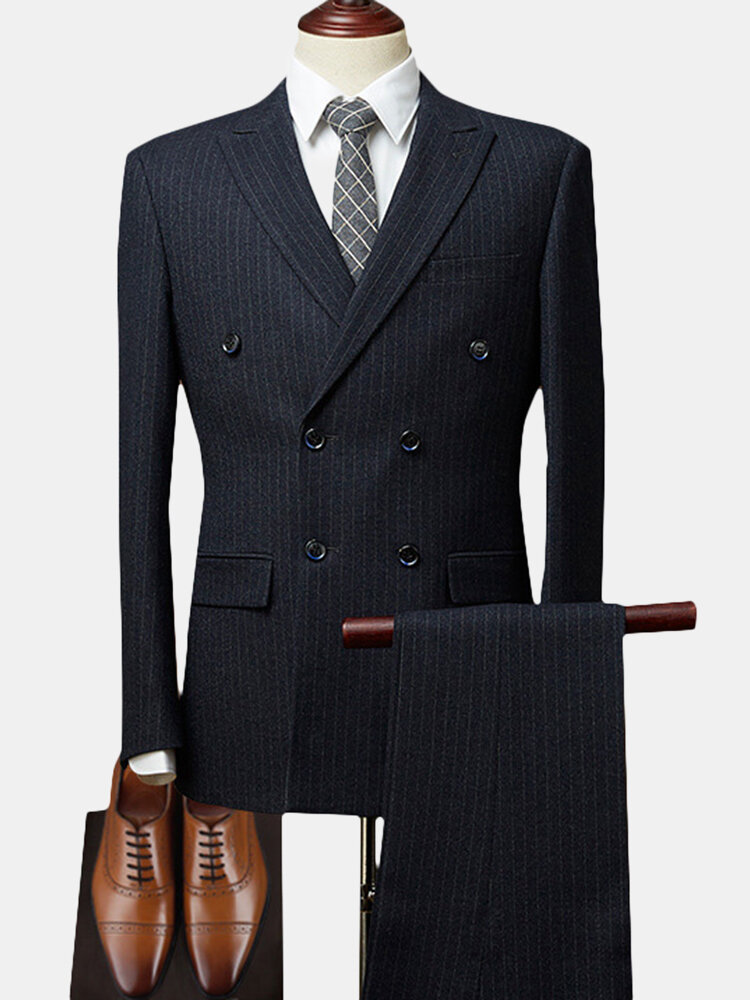 Best Double Breasted Notch Collar Striped Wedding Business Suit for Men You Can Buy