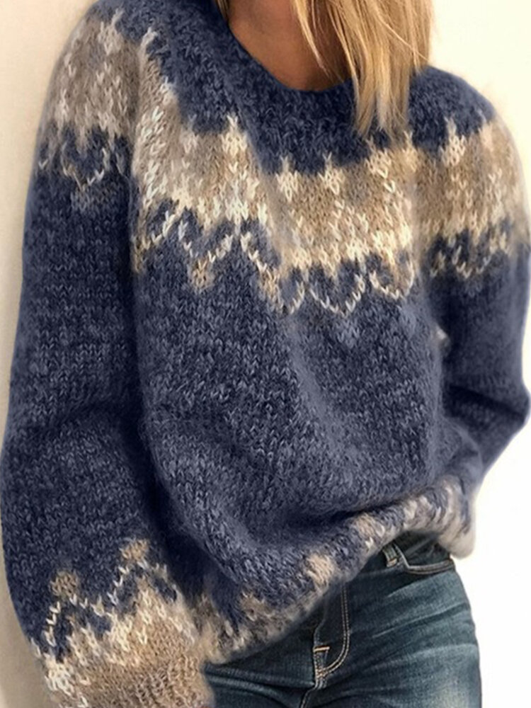 Best Jacquard Printed Casual Pullover Knit Women Sweater You Can Buy