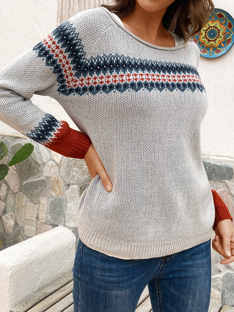 Best Casual O-neck Long Sleeve Contrast Sweater You Can Buy